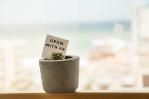Small plants with grow with us message